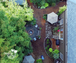 Crushed rock firepit patio makes for affordable landscaping in this N. Portland backyard.