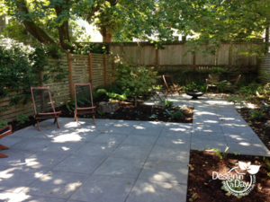 After shot of modern Portland area backyard landscape design.