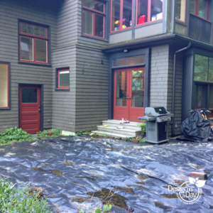 Before photo of Hardscape Landscape Design in Willamette Heights shows yards of black plastic.
