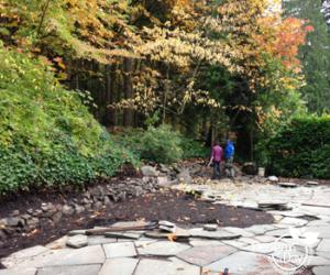 Hardscape Landscape Design in Portland's Willamette Heights in progress.