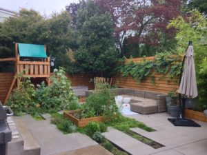 Portland modern backyard with edibles and herbs landscape.