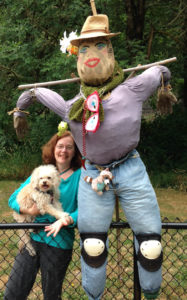 Daizzie is getting used to our new scarecrow.