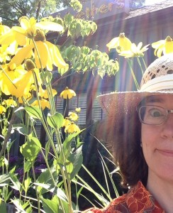 Carol with coneflower